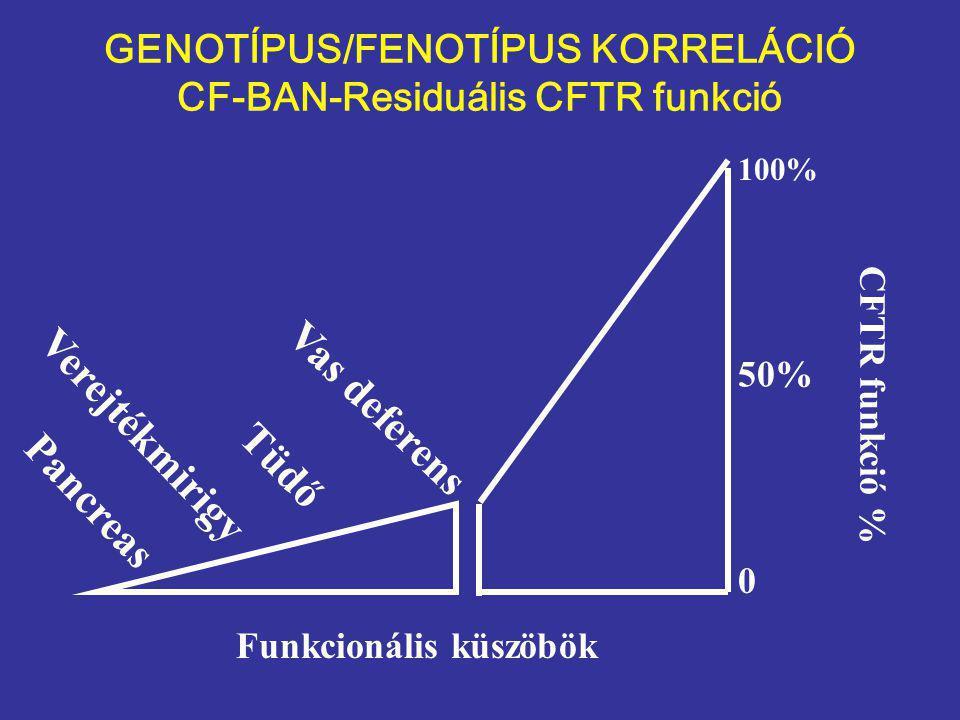 Pancreas Verejtékmirigy Tüdő Vas deferens Funkcionális küszöbök CFTR funkció % 100% 50% 0 GENOTÍPUS/FENOTÍPUS KORRELÁCIÓ CF-BAN-Residuális CFTR funkció