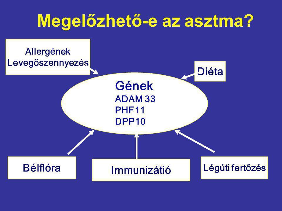 Megelőzhető-e az asztma? Gének ADAM 33 PHF11 DPP10 Allergének Levegőszennyezés Diéta Immunizátió Légúti fertőzés Bélflóra