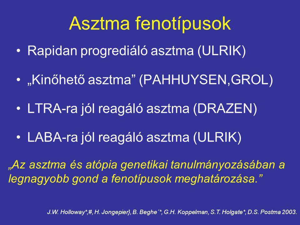 """Asztma fenotípusok Rapidan progrediáló asztma (ULRIK) """"Kinőhető asztma (PAHHUYSEN,GROL) LTRA-ra jól reagáló asztma (DRAZEN) LABA-ra jól reagáló asztma (ULRIK) """"Az asztma és atópia genetikai tanulmányozásában a legnagyobb gond a fenotípusok meghatározása. J.W."""