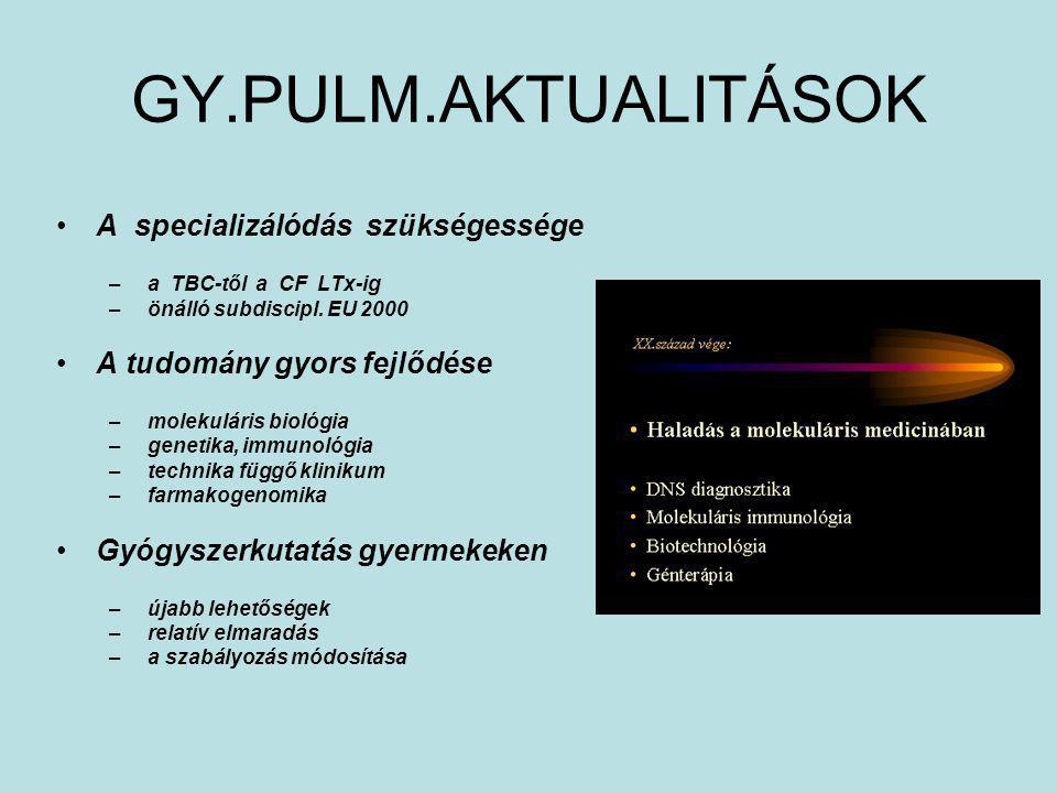 GY.PULM.AKTUALITÁSOK A specializálódás szükségessége – a TBC-től a CF LTx-ig – önálló subdiscipl. EU 2000 A tudomány gyors fejlődése – molekuláris bio
