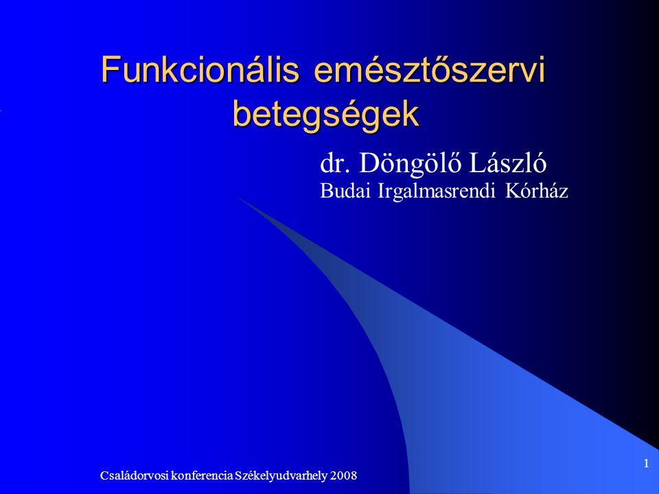 Családorvosi konferencia Székelyudvarhely 2008 22 IBS etiopatogenezis Ami ismert: -motilitás zavar -hiperszenzitivitás (rectalisan, ill.végig a tápcsatornán) -pszichoszociális tényezők (szorongás, pánik, depresszió) Újabban a serotonin 5-hidroxitriptamin,5HT szerepe igazolódott(bél legfontosabb neurotranszmittere) -bélmotilitásra agonista és antagonista receptorokon hat -colon distensió(fájdalom), 5-HT3 receptor antagonistával csökkenthető -5-HT4 receptoron közvetített fájdalmat receptor agonistával mérsékelhetünk