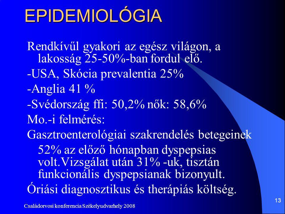 Családorvosi konferencia Székelyudvarhely 2008 13EPIDEMIOLÓGIA Rendkívűl gyakori az egész világon, a lakosság 25-50%-ban fordul elő. -USA, Skócia prev