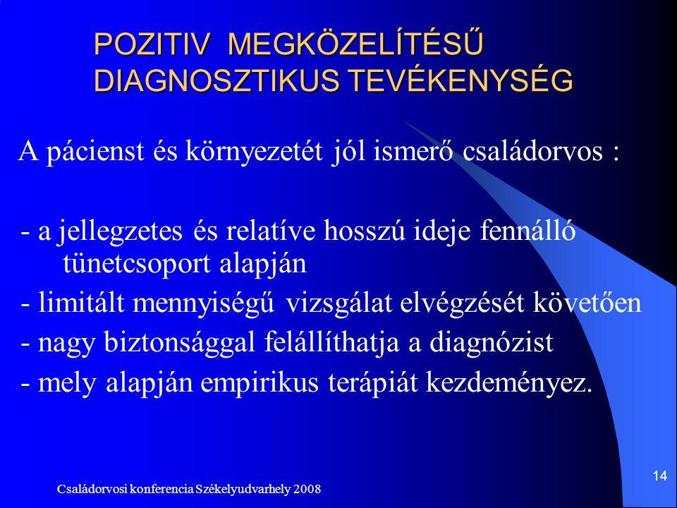 Családorvosi konferencia Székelyudvarhely 2008 14 POZITIV MEGKÖZELÍTÉSŰ DIAGNOSZTIKUS TEVÉKENYSÉG A pácienst és környezetét jól ismerő családorvos : -