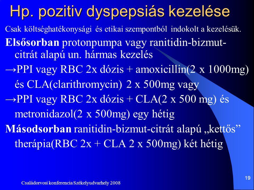 Családorvosi konferencia Székelyudvarhely 2008 19 Hp. pozitiv dyspepsiás kezelése Csak költséghatékonysági és etikai szempontból indokolt a kezelésük.