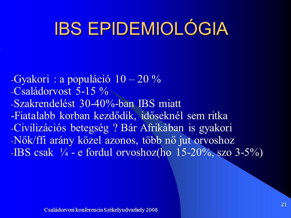 Családorvosi konferencia Székelyudvarhely 2008 21 IBS EPIDEMIOLÓGIA - Gyakori : a populáció 10 – 20 % - Családorvost 5-15 % - Szakrendelést 30-40%-ban