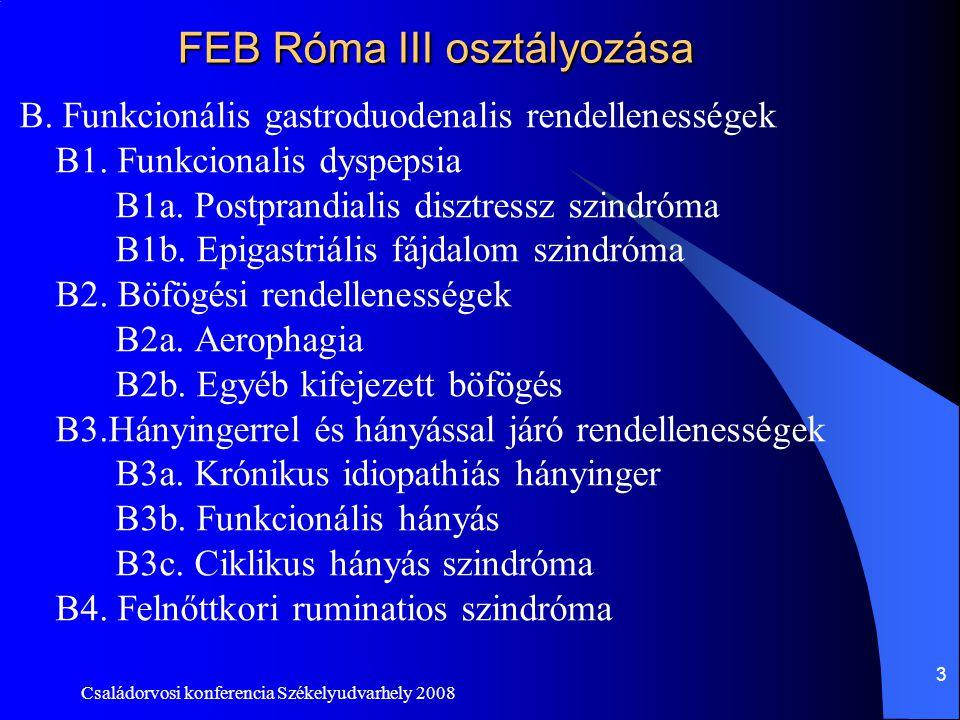 Családorvosi konferencia Székelyudvarhely 2008 3 FEB Róma III osztályozása B. Funkcionális gastroduodenalis rendellenességek B1. Funkcionalis dyspepsi