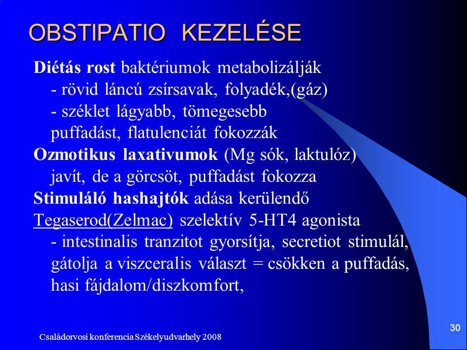 Családorvosi konferencia Székelyudvarhely 2008 30 OBSTIPATIO KEZELÉSE Diétás rost baktériumok metabolizálják - rövid láncú zsírsavak, folyadék,(gáz) -