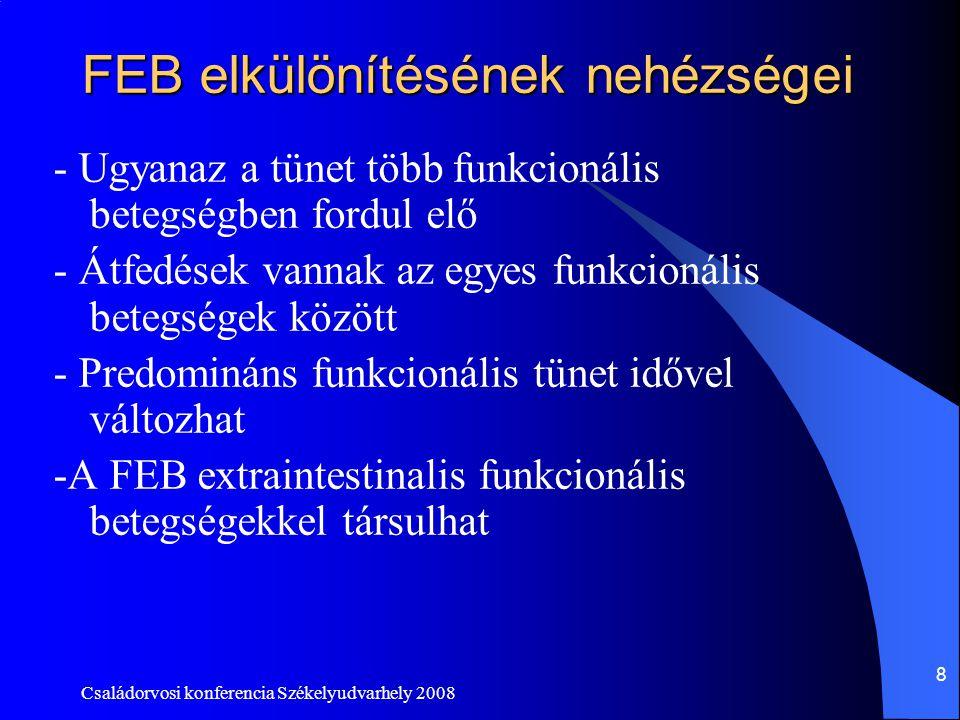 Családorvosi konferencia Székelyudvarhely 2008 9 Átfedések a funkcionális emésztőszervi megbetegedések között Funkcionális dyspepsias betegek 1/3 egyidejüleg IBS tünetei is vannak Pl.: Spanyolországi felmérés: dyspepsias csoportnem dyspepsiasak IBS prevalentia 31,7%7,9%