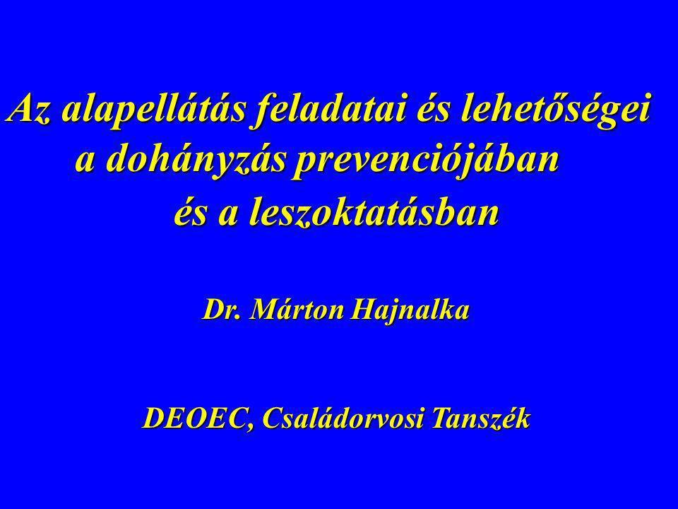 Az alapellátás feladatai és lehetőségei a dohányzás prevenciójában és a leszoktatásban és a leszoktatásban Dr. Márton Hajnalka Dr. Márton Hajnalka DEO