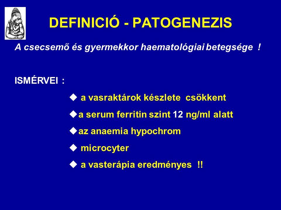 DEFINICIÓ - PATOGENEZIS A csecsemő és gyermekkor haematológiai betegsége ! ISMÉRVEI :  a vasraktárok készlete csökkent  a serum ferritin szint 12 ng