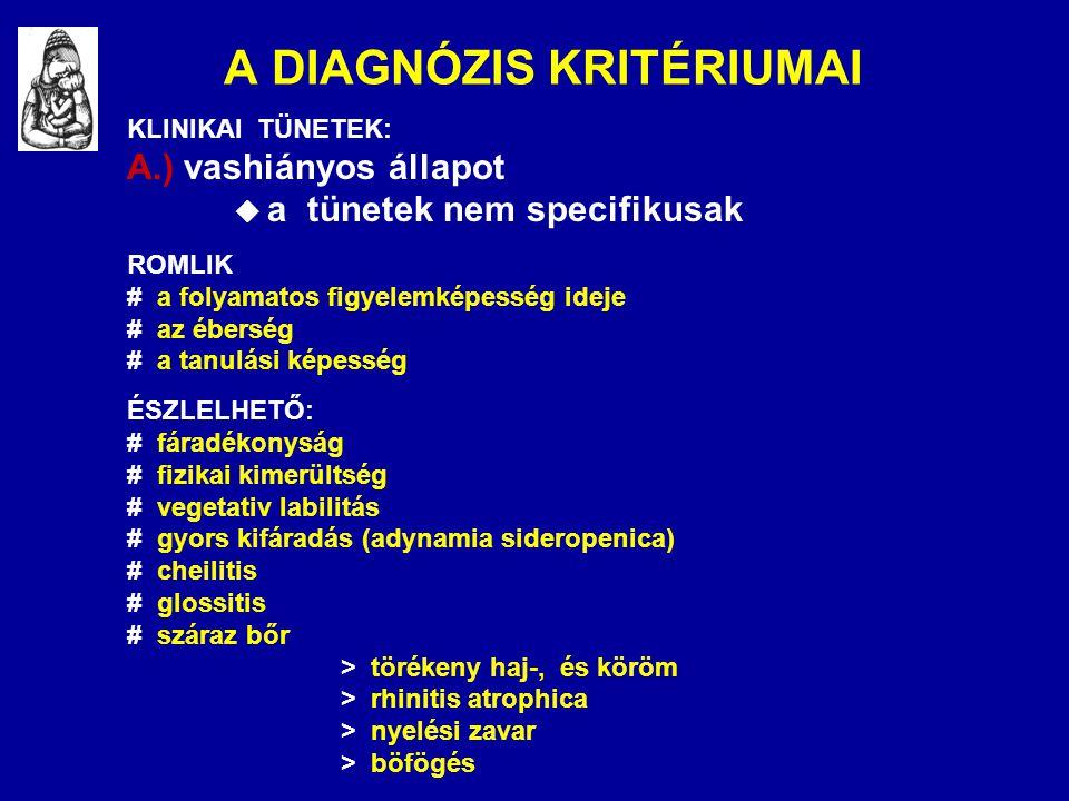 A DIAGNÓZIS KRITÉRIUMAI KLINIKAI TÜNETEK: A.) vashiányos állapot  a tünetek nem specifikusak ROMLIK # a folyamatos figyelemképesség ideje # az ébersé