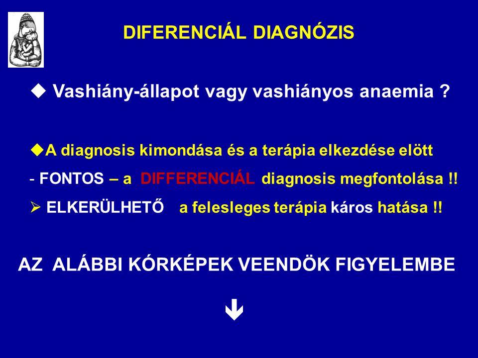 DIFERENCIÁL DIAGNÓZIS  Vashiány-állapot vagy vashiányos anaemia ?  A diagnosis kimondása és a terápia elkezdése elött - FONTOS – a DIFFERENCIÁL diag