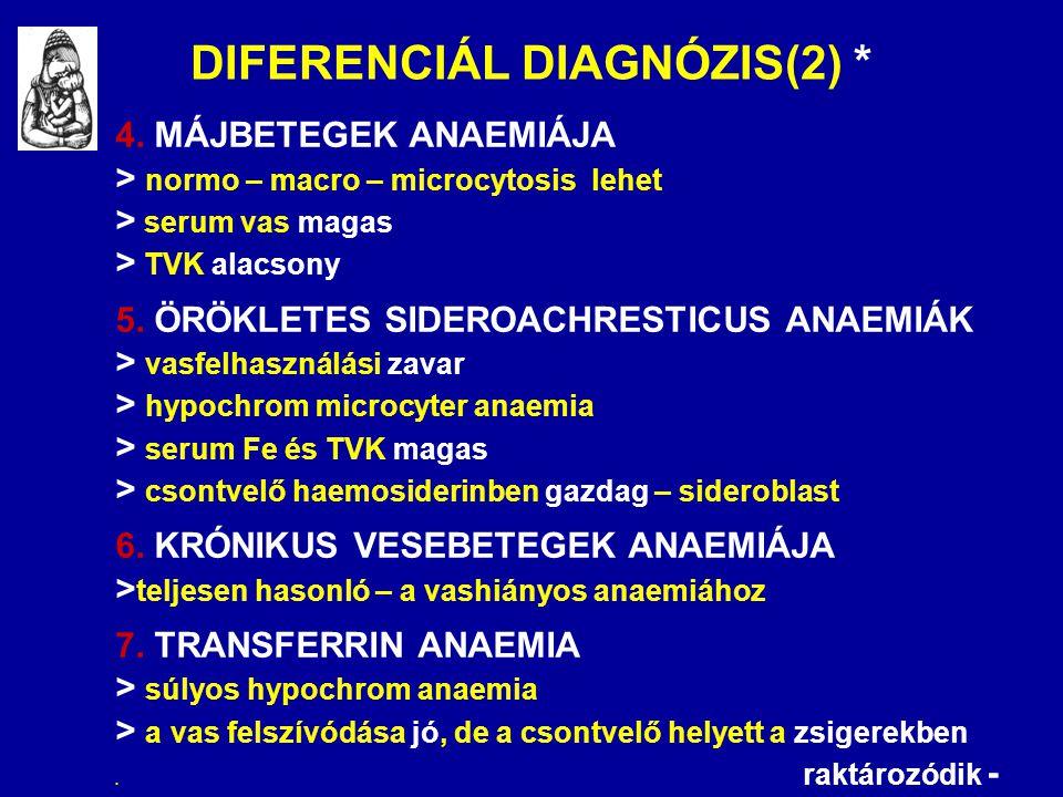 DIFERENCIÁL DIAGNÓZIS(2) * 4. MÁJBETEGEK ANAEMIÁJA > normo – macro – microcytosis lehet > serum vas magas > TVK alacsony 5. ÖRÖKLETES SIDEROACHRESTICU