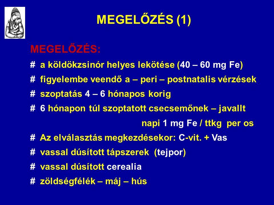 MEGELŐZÉS (1) MEGELŐZÉS: # a köldökzsinór helyes lekötése (40 – 60 mg Fe) # figyelembe veendő a – peri – postnatalis vérzések # szoptatás 4 – 6 hónapo
