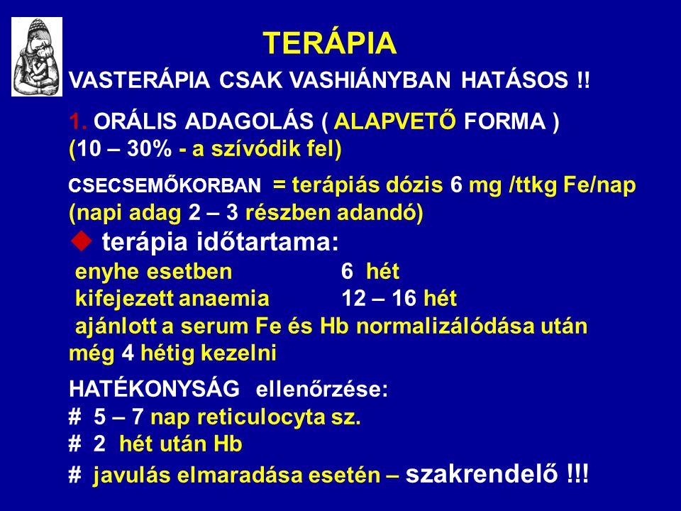 TERÁPIA VASTERÁPIA CSAK VASHIÁNYBAN HATÁSOS !! 1. ORÁLIS ADAGOLÁS ( ALAPVETŐ FORMA ) (10 – 30% - a szívódik fel) CSECSEMŐKORBAN = terápiás dózis 6 mg