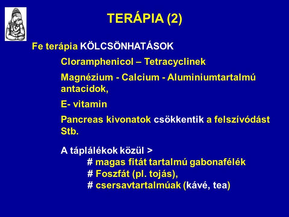 TERÁPIA (2) Fe terápia KÖLCSÖNHATÁSOK Cloramphenicol – Tetracyclinek Magnézium - Calcium - Aluminiumtartalmú antacidok, E- vitamin Pancreas kivonatok