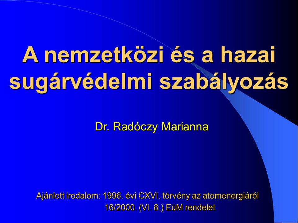 A nemzetközi és a hazai sugárvédelmi szabályozás Ajánlott irodalom: 1996. évi CXVI. törvény az atomenergiáról 16/2000. (VI. 8.) EüM rendelet 16/2000.