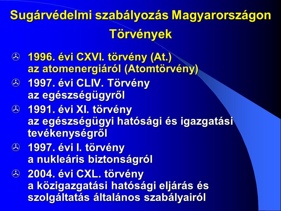 Sugárvédelmi szabályozás Magyarországon  1996. évi CXVI. törvény (At.) az atomenergiáról (Atomtörvény)  1997. évi CLIV. Törvény az egészségügyről 