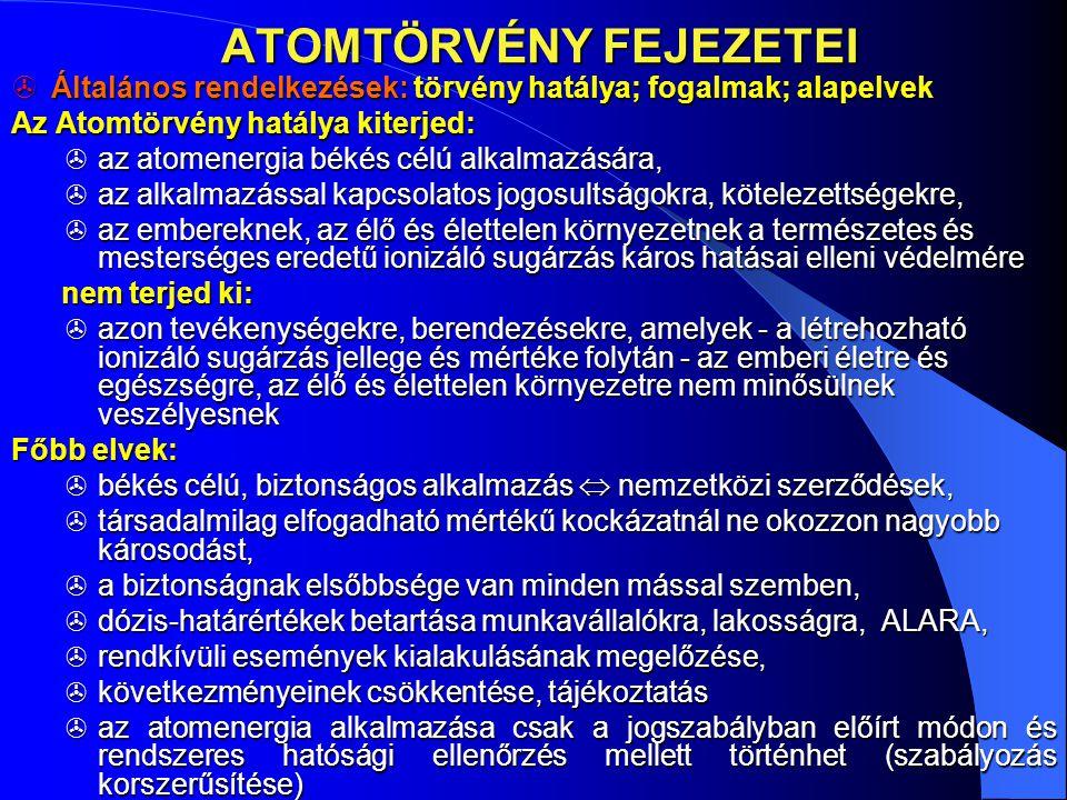 ATOMTÖRVÉNY FEJEZETEI ATOMTÖRVÉNY FEJEZETEI  Általános rendelkezések: törvény hatálya; fogalmak; alapelvek Az Atomtörvény hatálya kiterjed:  az atom