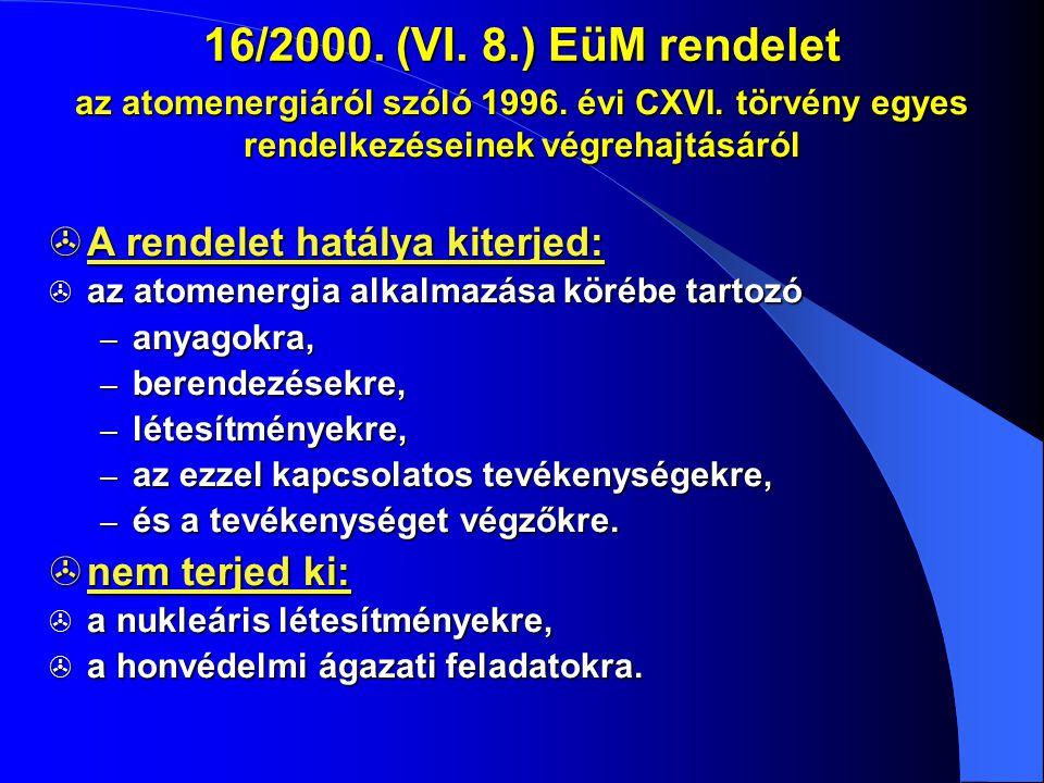16/2000. (VI. 8.) EüM rendelet az atomenergiáról szóló 1996. évi CXVI. törvény egyes rendelkezéseinek végrehajtásáról  A rendelet hatálya kiterjed: 