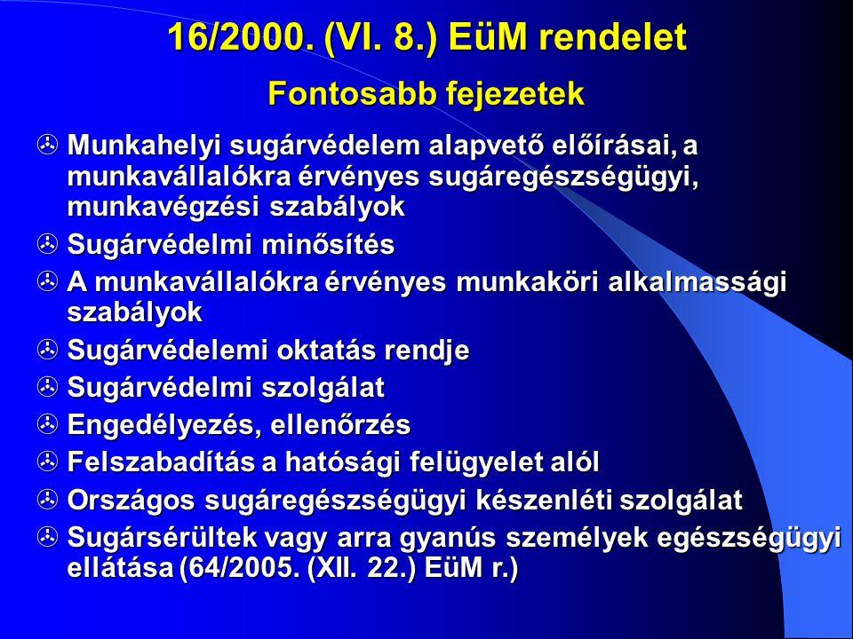 16/2000. (VI. 8.) EüM rendelet Fontosabb fejezetek  Munkahelyi sugárvédelem alapvető előírásai, a munkavállalókra érvényes sugáregészségügyi, munkavé