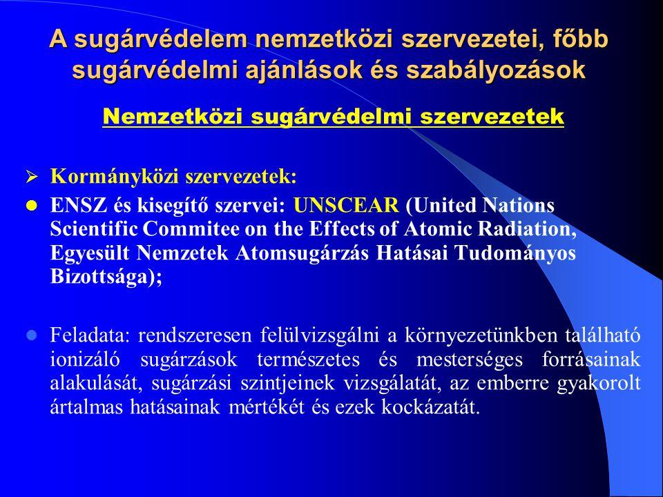 Szakosított ENSZ szervezetek: WHO (Egészségügyi Világszervezet), FAO, ILO; Nemzetközi Atomenergia Ügynökség (NAÜ) IAEA - International Atomic Energy Agency;  Nukleáris és sugárvédelmi ajánlásokat tesz  Kiadványai: – Biztonsági Szabványok (Safety Standards), – Biztonsági Útmutatók (Safety Guides), – Biztonsági Ajánlások (Safety Recommandations), – Biztonsági Követelmények (Safety Requirements), – TECDOC, TRS,…