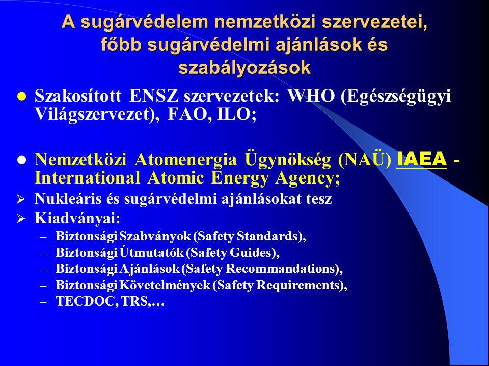 A sugárvédelem nemzetközi szervezetei, főbb sugárvédelmi ajánlások és szabályozások  Területi szervezetek: OECD-NEA (Nukleáris Energia Ügynökség), EUROATOM  Nem kormányközi (szakértői) szervezetek: ICRP - International Commission for Radiation Protection (Nemzetközi Sugárvédelmi Bizottság), Feladata: nyomon követni a sugárvédelemben végbemenő fejlődést, ajánlásokat kidolgozni a sugárvédelem alapelveire és a sugárbiztonság szabályaira vonatkozóan; Kiadványok (Publications).
