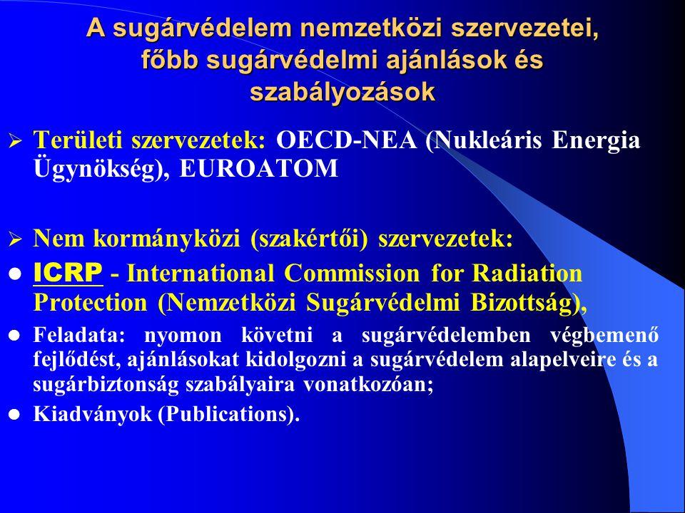 A sugárvédelem nemzetközi szervezetei, főbb sugárvédelmi ajánlások és szabályozások  Nem kormányközi (szakértői) szervezetek: ICRU -International Commission On Radiation Units and Measurements (sugárzás- mértékegységei és mérése); IRPA -International Radiation Protection Association (szakmai kapcsolatok, együttműködések); IEC -International Electrotechnical Commission (termékre vonatkozó műszaki követelmények).