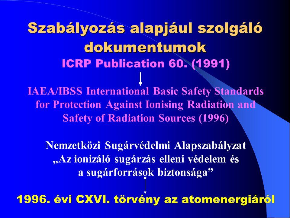 Szabályozás alapjául szolgáló dokumentumok ICRP Publication 60. (1991) IAEA/IBSS International Basic Safety Standards for Protection Against Ionising