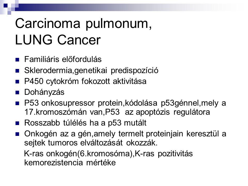 Carcinoma pulmonum, LUNG Cancer Familiáris előfordulás Sklerodermia,genetikai predispozíció P450 cytokróm fokozott aktivitása Dohányzás P53 onkosupres