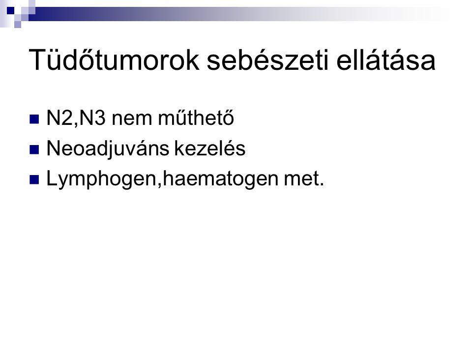 Tüdőtumorok sebészeti ellátása N2,N3 nem műthető Neoadjuváns kezelés Lymphogen,haematogen met.