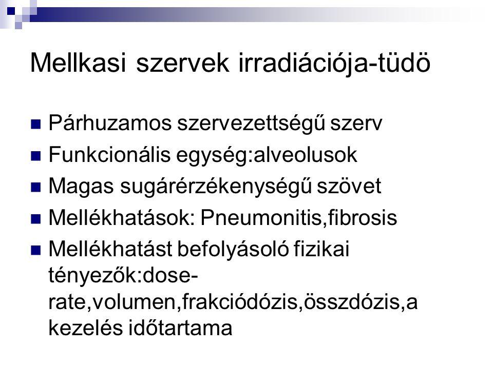 Mellkasi szervek irradiációja-tüdö Párhuzamos szervezettségű szerv Funkcionális egység:alveolusok Magas sugárérzékenységű szövet Mellékhatások: Pneumonitis,fibrosis Mellékhatást befolyásoló fizikai tényezők:dose- rate,volumen,frakciódózis,összdózis,a kezelés időtartama