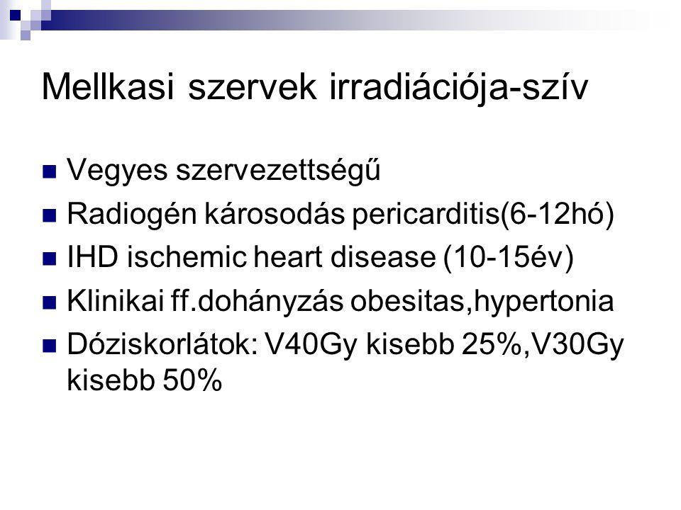 Mellkasi szervek irradiációja-szív Vegyes szervezettségű Radiogén károsodás pericarditis(6-12hó) IHD ischemic heart disease (10-15év) Klinikai ff.dohányzás obesitas,hypertonia Dóziskorlátok: V40Gy kisebb 25%,V30Gy kisebb 50%