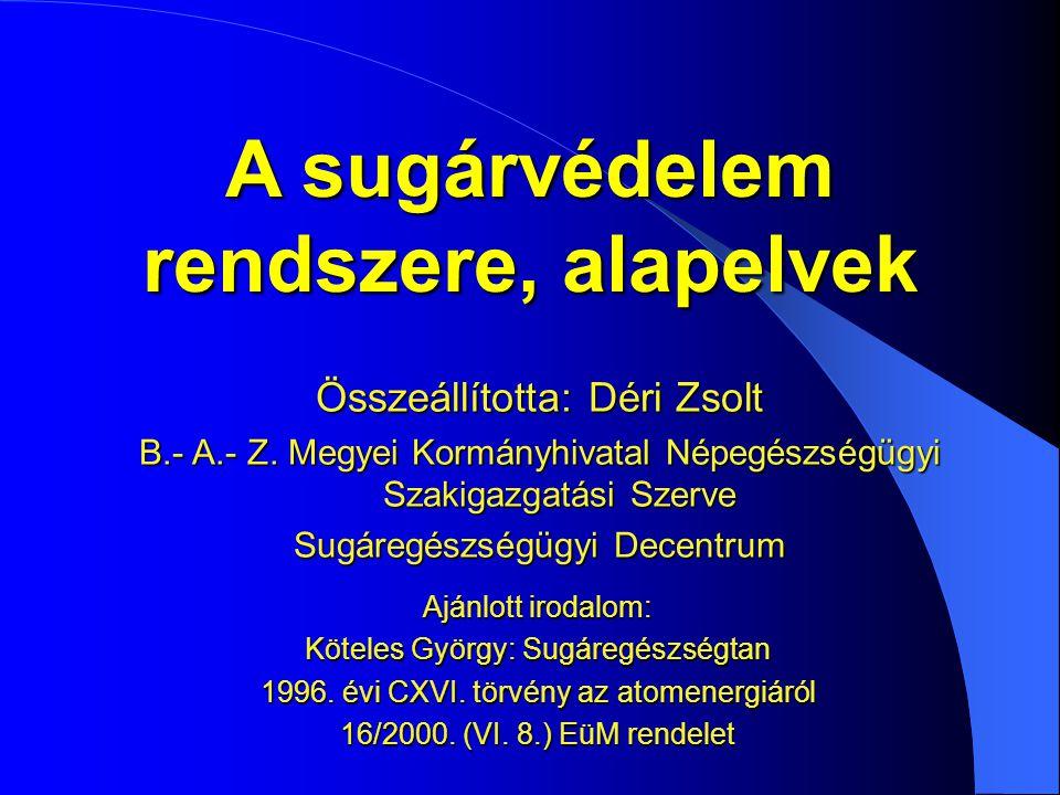 Elsődleges dóziskorlát  Effektív dózis (lekötött effektív dózis)  Egyenérték dózis (lekötött egyenérték dózis)  Közvetlenül a biológiai hatáshoz kapcsolódik  Közvetlenül nem mérhető, számítható (becsülhető) 16/2000 (VI.8.) SZEM rendelet Dóziskorlát: a külső forrásból és az emberi szervezetbe került radionuklid(ok)tól származó effektív dózis, illetőleg lekötött effektív dózis vagy az egyenérték dózis, illetőleg lekötött egyenérték dózis összegére, adott időszakra vonatkozóan megszabott érték, amelyet az ellenőrzött tevékenységből származó egyéni sugárterhelésnek nem szabad meghaladni