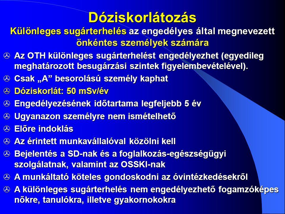 Dóziskorlátozás Különleges sugárterhelés az engedélyes által megnevezett önkéntes személyek számára  Az OTH különleges sugárterhelést engedélyezhet (