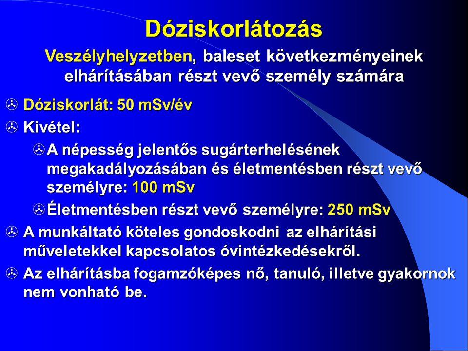 Dóziskorlátozás Veszélyhelyzetben, baleset következményeinek elhárításában részt vevő személy számára  Dóziskorlát: 50 mSv/év  Kivétel:  A népesség