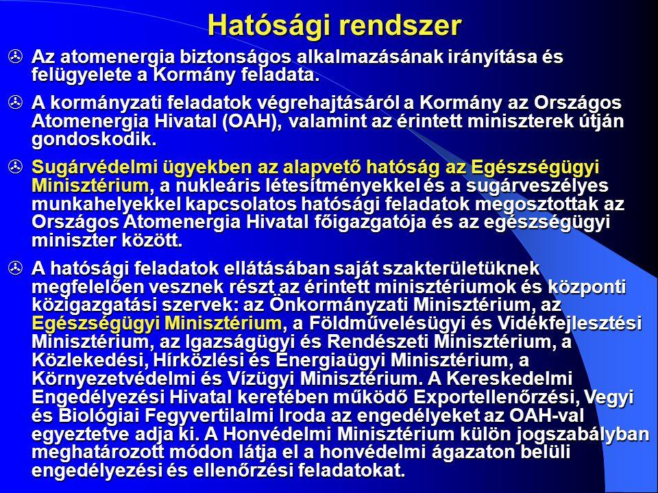 Jogalkotás és szabályozás  Az atomenergia alkalmazását Magyarországon törvény szabályozza.