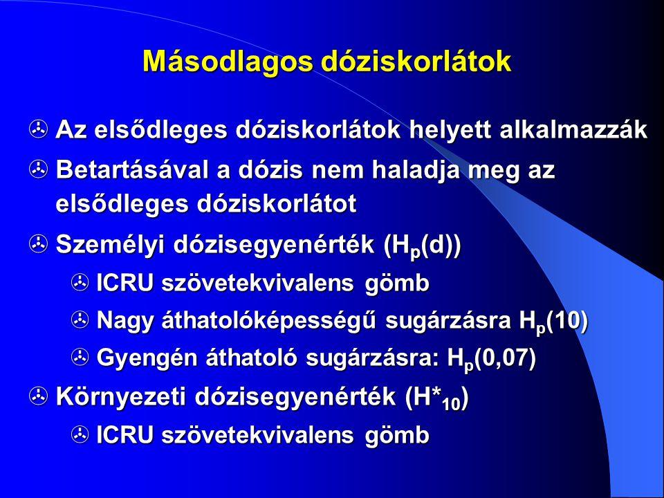Másodlagos dóziskorlátok  Az elsődleges dóziskorlátok helyett alkalmazzák  Betartásával a dózis nem haladja meg az elsődleges dóziskorlátot  Személ