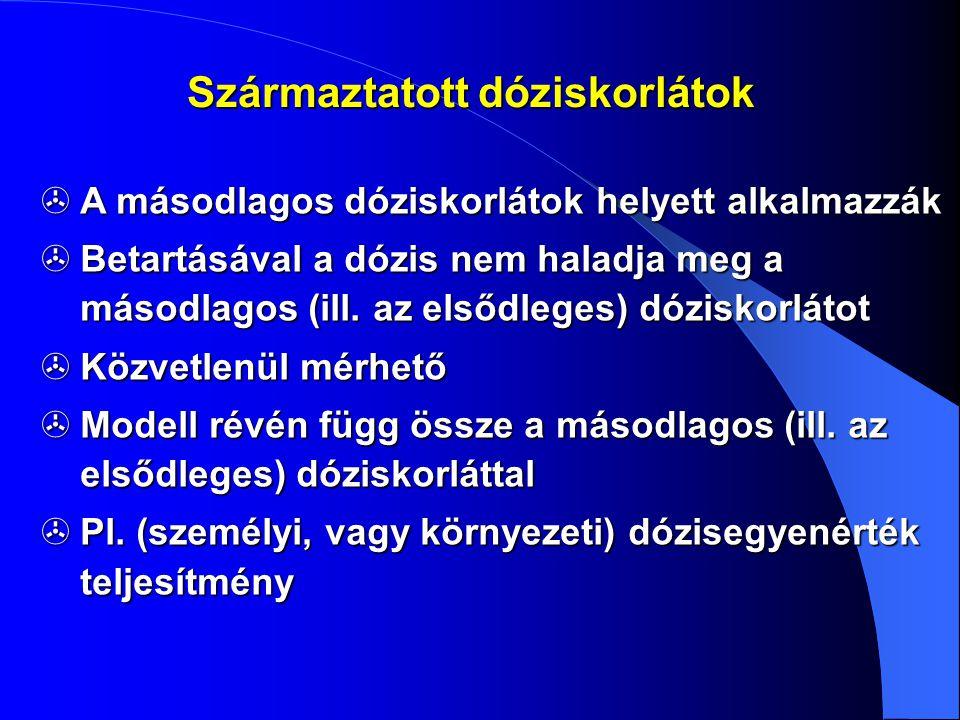 Származtatott dóziskorlátok  A másodlagos dóziskorlátok helyett alkalmazzák  Betartásával a dózis nem haladja meg a másodlagos (ill. az elsődleges)