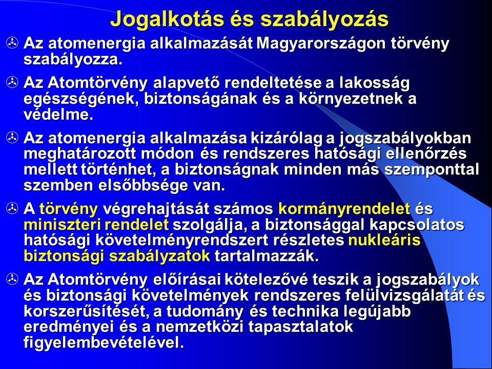 Jogalkotás és szabályozás  Az atomenergia alkalmazását Magyarországon törvény szabályozza.  Az Atomtörvény alapvető rendeltetése a lakosság egészség