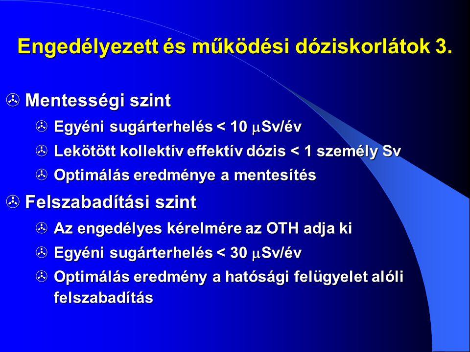 Engedélyezett és működési dóziskorlátok 3.  Mentességi szint  Egyéni sugárterhelés < 10  Sv/év  Lekötött kollektív effektív dózis < 1 személy Sv 