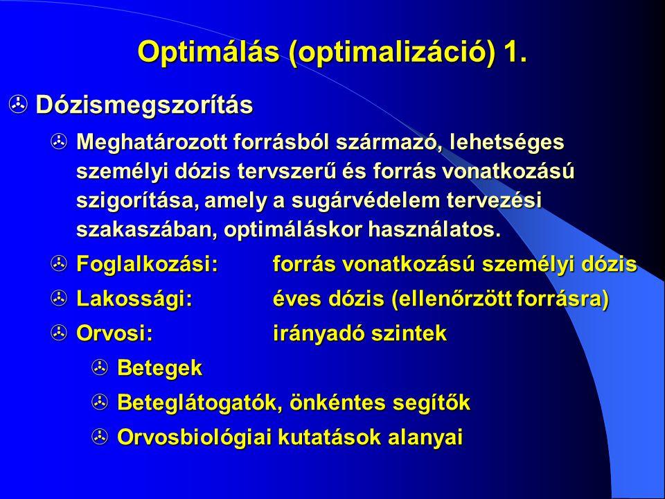 Optimálás (optimalizáció) 1.  Dózismegszorítás  Meghatározott forrásból származó, lehetséges személyi dózis tervszerű és forrás vonatkozású szigorít