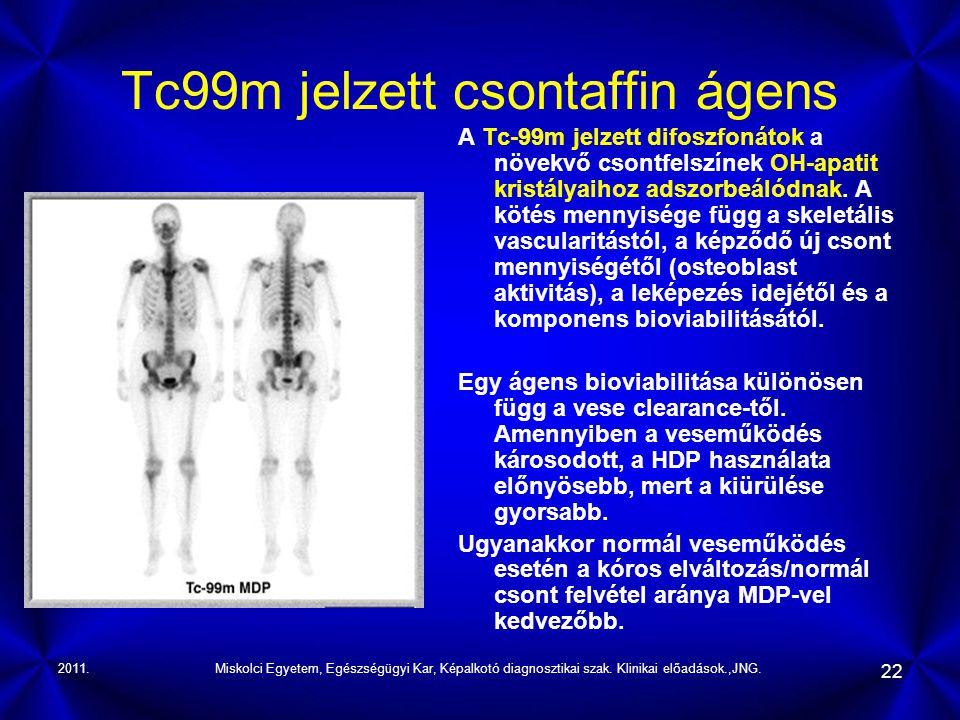 2011.Miskolci Egyetem, Egészségügyi Kar, Képalkotó diagnosztikai szak. Klinikai előadások.,JNG. 22 Tc99m jelzett csontaffin ágens A Tc-99m jelzett dif