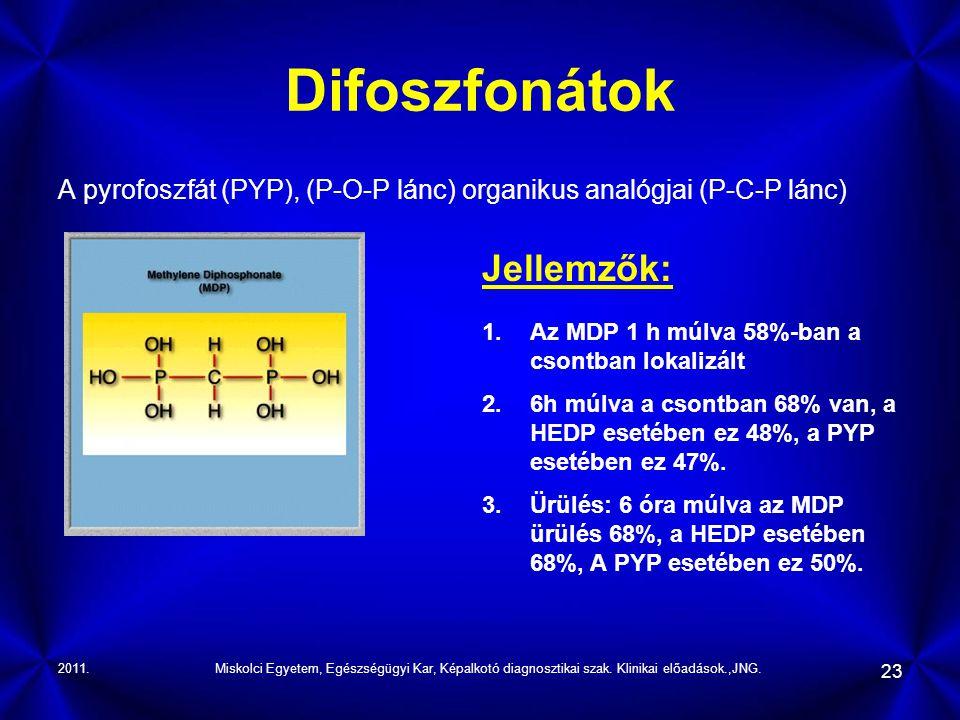 2011.Miskolci Egyetem, Egészségügyi Kar, Képalkotó diagnosztikai szak. Klinikai előadások.,JNG. 23 Difoszfonátok A pyrofoszfát (PYP), (P-O-P lánc) org