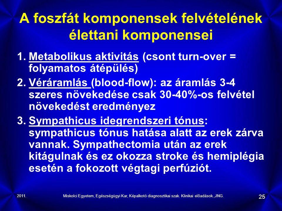 2011.Miskolci Egyetem, Egészségügyi Kar, Képalkotó diagnosztikai szak. Klinikai előadások.,JNG. 25 A foszfát komponensek felvételének élettani kompone
