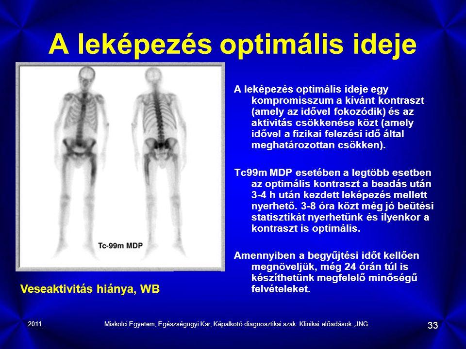 2011.Miskolci Egyetem, Egészségügyi Kar, Képalkotó diagnosztikai szak. Klinikai előadások.,JNG. 33 A leképezés optimális ideje A leképezés optimális i