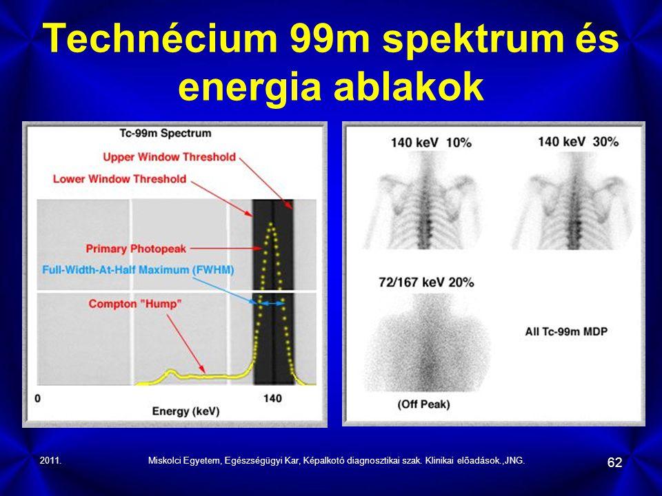 2011.Miskolci Egyetem, Egészségügyi Kar, Képalkotó diagnosztikai szak. Klinikai előadások.,JNG. 62 Technécium 99m spektrum és energia ablakok