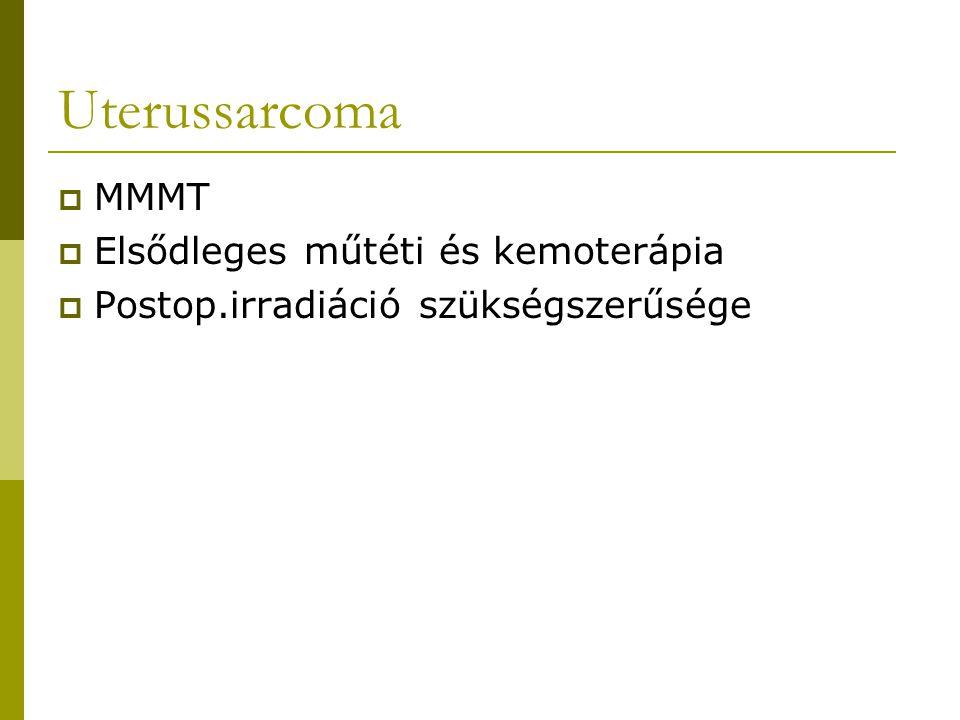 Uterussarcoma  MMMT  Elsődleges műtéti és kemoterápia  Postop.irradiáció szükségszerűsége