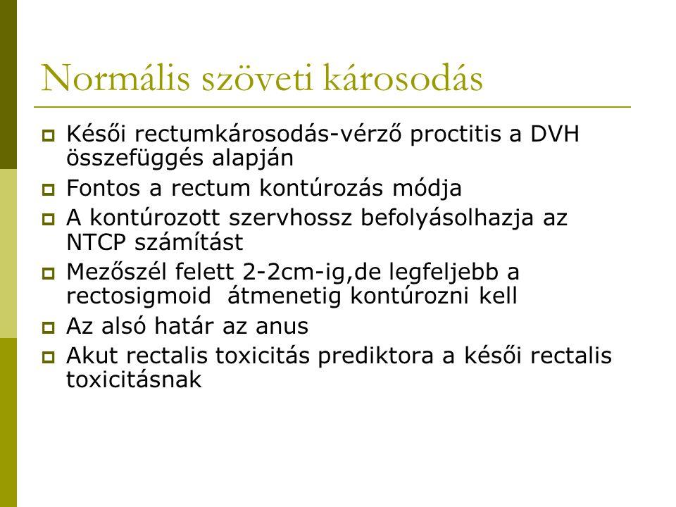 Normális szöveti károsodás  Késői rectumkárosodás-vérző proctitis a DVH összefüggés alapján  Fontos a rectum kontúrozás módja  A kontúrozott szervhossz befolyásolhazja az NTCP számítást  Mezőszél felett 2-2cm-ig,de legfeljebb a rectosigmoid átmenetig kontúrozni kell  Az alsó határ az anus  Akut rectalis toxicitás prediktora a késői rectalis toxicitásnak
