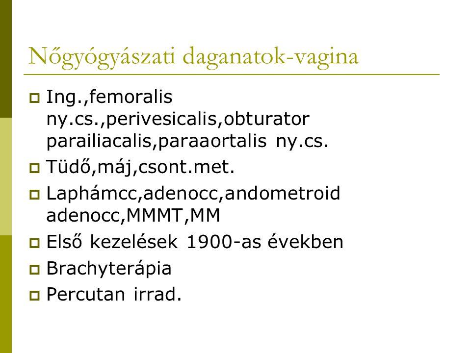 Nőgyógyászati daganatok-vagina  Ing.,femoralis ny.cs.,perivesicalis,obturator parailiacalis,paraaortalis ny.cs.  Tüdő,máj,csont.met.  Laphámcc,aden